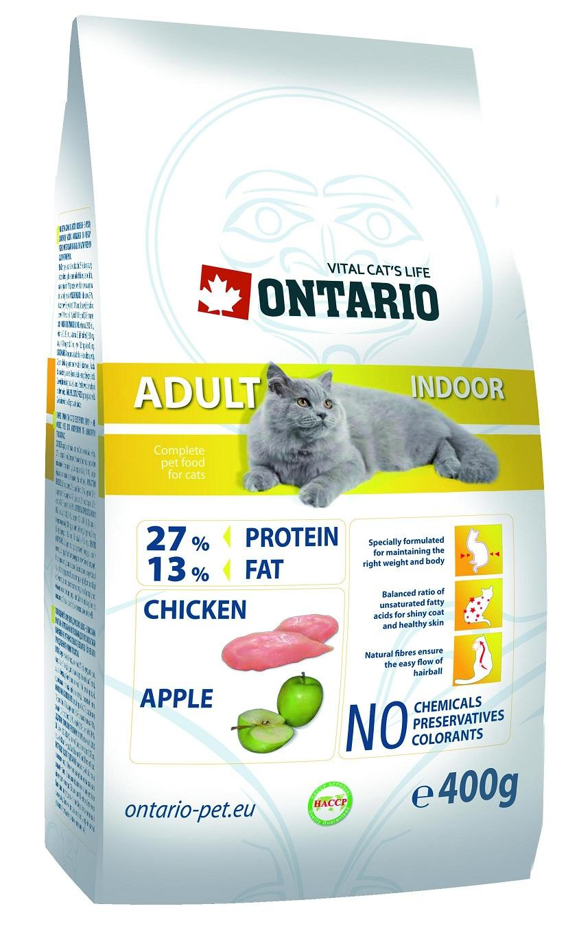 Ontario Cat Adult Indoor Корм для домашних кошек с цыпленком 400г.